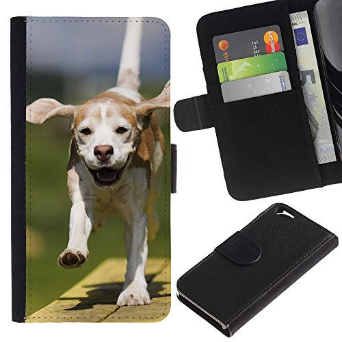 EuroCase - Apple Iphone 6 4.7 - american foxhound running dog ears - Cuir PU Coverture Shell Armure Coque Coq Cas Etui Housse Case Cover