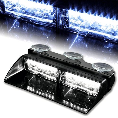 - WoneNice 16 LED High Intensity LED Law Enforcement Emergency Hazard Warning Strobe Lights 18 Modes for Interior Roof/Dash / Windshield with Suction Cups (White)