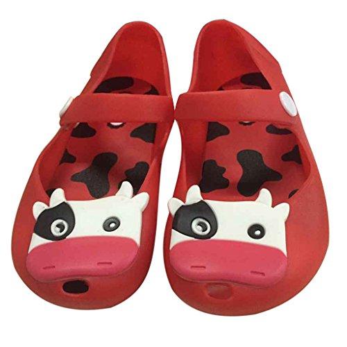 Sandalias Zapatos De Verano Vaca Lechera Cabeza De Pescado Jalea Playa Para Niñas Niños - 27, Rojo Rojo