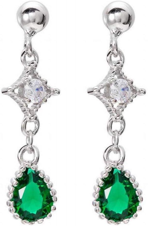 Katylen Pendientes de Botón con Circonitas Esmeralda S925 Pendientes de Gota de Diamante de Plata Esterlina, Silver