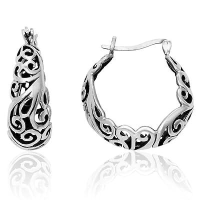 MIMI Sterling Silver Tarnish-Free Bali Filigree Round Hoop Crescent Earrings