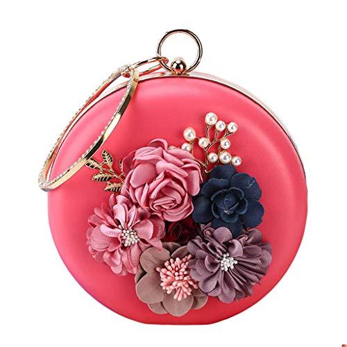SimpleLif Wristlet Purse, Clutch Purse,Floral Rhinestone Beaded Shoulder Crossbody Bags Purse Evening Party Bridal Handbag