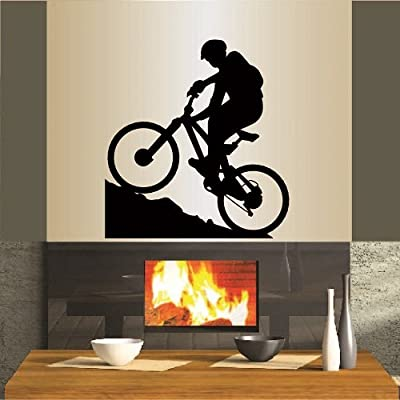 Wall Vinyl Decal Home Decor Art Sticker Mountain Biking Extreme Sports Bicycle Bike Man Boy Room Removable Stylish Mural Unique Design For Any Room 337