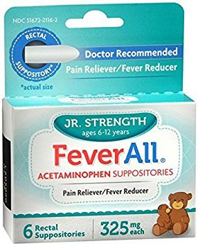 FeverAll Acetaminophen Suppositories, Jr Strength Ages 6-12 Years 6 ea ()