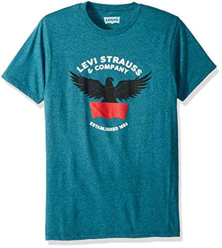Levi's Men's Graphic Logo T-Shirt, Cyan Black Heather/Gilfoyle Logo, Medium