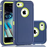iPhone 5C Case, FOGEEK Dual Layer Anti Slip 360 Full Body Cover Case PC and TPU Shockproof Protective Compatible for Apple iPhone 5C ONLY (Blue/Green)