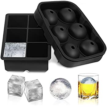 Toplus Ice Cube Trays Silicone Set of 2, Sphere Round Ice Ball Maker & Large Square Ice Cube Mold for Chilling Bourbon Whiskey, Cocktail, Beverages and More