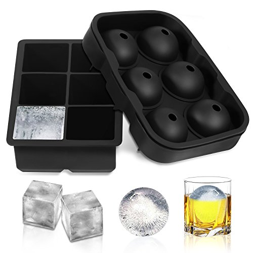Adoric Ice Cube Trays Silicone Set of 2, Sphere Round Ice Ball Maker and Large Square Ice Cube Mold for Chilling Burbon Whiskey, Cocktail, Beverages and More (Sphere Mold Ice)