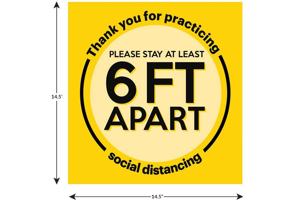 3x24 Floor Decal with Peel and Stick Application Social Distancing Floor Signs Textured No-Slip Design Repositionable and Removable Floor Sign