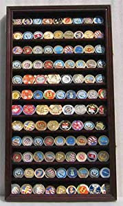 Large Military Challenge Coin Display Case Cabinet Rack Holder, Poker Chip, Geo Coin Display Cabinet from Display Gifts Inc.
