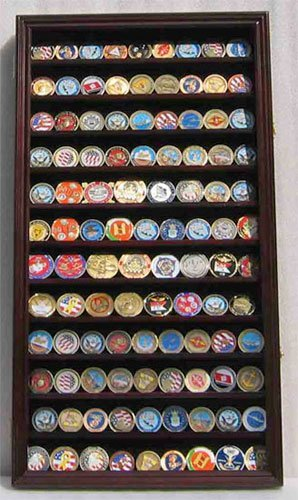 (LOCKABLE Military Challenge Coin Display Case Cabinet Rack Holder, LOCKABLE - Mahogany Finish (Large 29
