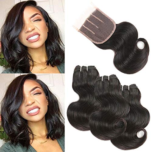 Urbeauty 8A Brazilian Body Wave Human Hair Bundles With Closure (8 8 8+8) 50g/pc Short Sew in Weave 3 Bundles with Three Part Closure (Brazilian Body Wave Sew In With Closure)