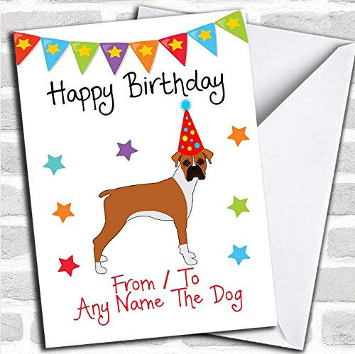 To From Dog Boxer Personalized Birthday Card