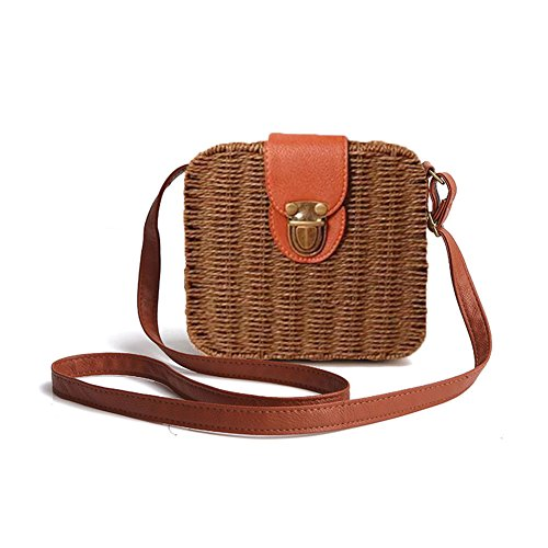 Candy Shoulder Woven Crossbody Lovely Bag Straw Vines Small For Women Colored dark Beach Handbag Gaeruite Bag coffee Bag Square w8I5p5q