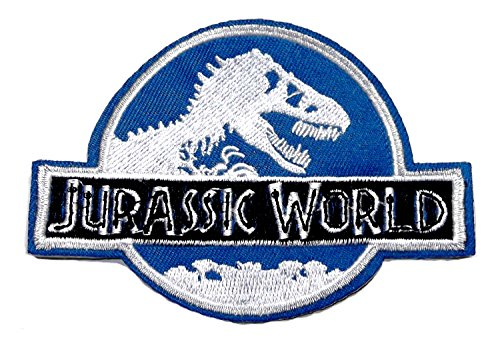 Jurassic Park World Logo with T-Rex Embroidered Clothing Patch Size: 4
