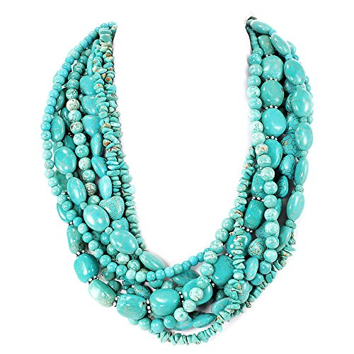 Multi-Strands Blue Magnesite Turquoise Beads Silver Huge Necklace 20