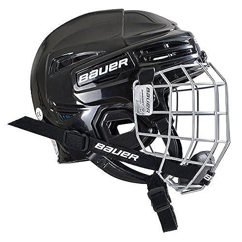 White hockey helmet with black cage dress