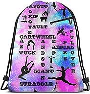 Girls Gymnastics Skills Crosswords Backpack Youth Drawstring Bag Beach Travel Gym Bags