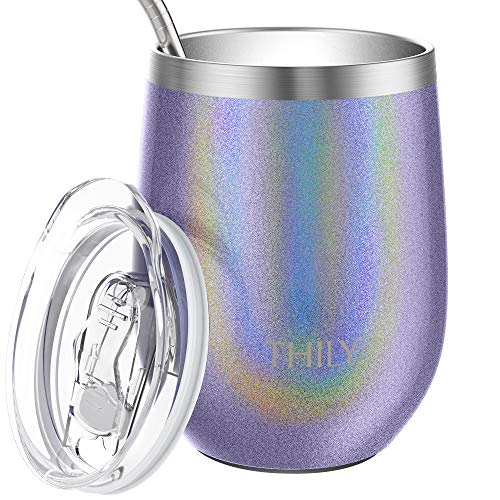 Stainless Steel Wine Tumbler Insulated - THILY T2 Stemless Travel Wine Glass Coffee Cup with Sliding Lid and Reusable Straw, Cute Birthday Christmas Gift for Mom Wife Teacher Bride, Glitter Lavender -