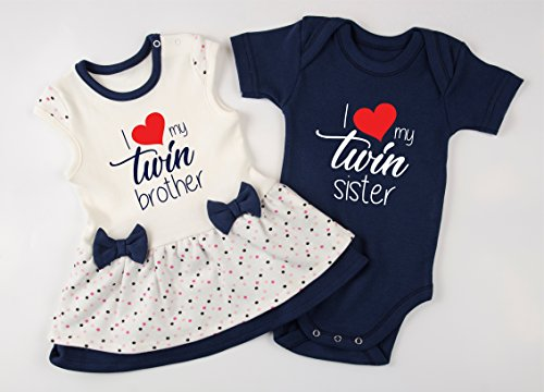 Twin Boy and Girl Outfits, I Love My Twin Brother/I Love My Twin Sister Baby Set, 0-3 - Brothers Twins