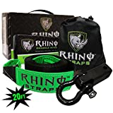 RHINO USA COMBO Recovery Tow Strap (20ft) & Shackle Hitch Receiver - Lab Tested 31,518lb Break Strength - Heavy Duty Draw String bag Included - Triple Reinforced Loop End to Ensure Peace of Mind