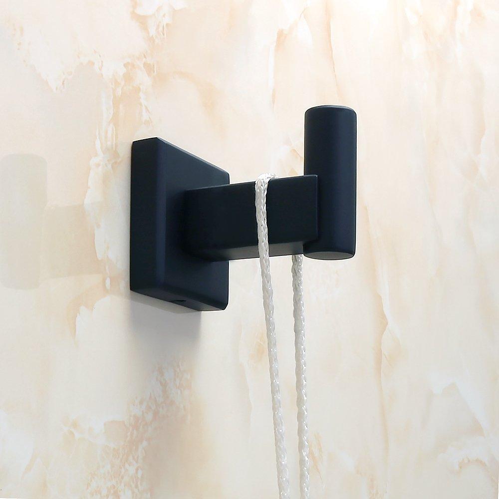 Sayayo Bademantel Haken Badezimmer Single Handtuchhalter//Kleiderhaken Haken Wand montiert EG3906-B SUS304 Edelstahl matt schwarz