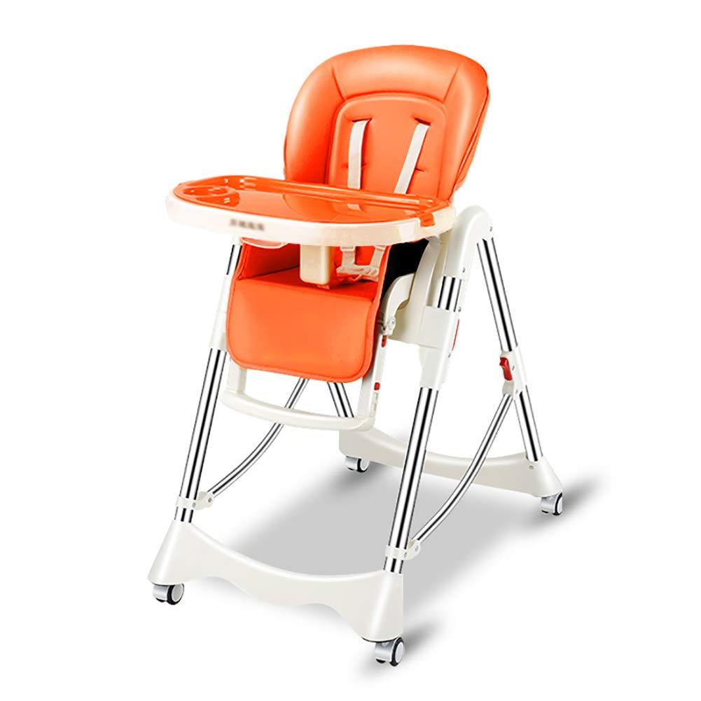 ベビーチェア 子供用ダイニングチェア折りたたみ式ベビーハイチェアーポータブルキッズシート(車輪付き)(オプション) (色 : Orange)  Orange B07GK37MY2
