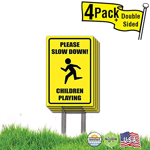 (Visibility Signage 12x18 Please Slow Down Children Playing Lawn Signs with H-Stakes (4))