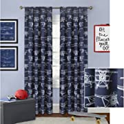Better Homes and Gardens 52  x 63  Airplanes Curtain Panel - Navy