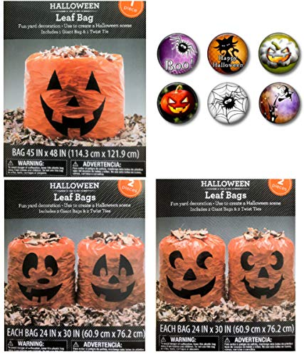 Jack O'lantern Pumpkin Leaf Bags Halloween Lawn Yard Decorations with Coordinating Magnet Set Bundle (Set -