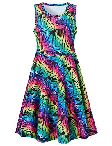(Goodstoworld 5T Dresses for Girls Dinosaur Dress Raibow Striped 4t Sleeveless Summer Dresses Casual Twirl Dresses Colorful Beach Hawaiian Holiday A-line Flared Skater Swing Dress Midi Skirts 4-5 Years)