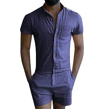 497a3de4e9e1 LianShenang Summer Short Sleeve Mens Rompers Male Single Breasted Jumpsuit  Cargo Short Pants Zip Trousers Party