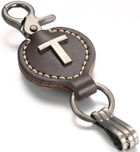 Brown Leather Alphabet Keychain, Single Letter with Easy Clasp Key - by Marino Ave - T - onesize ()
