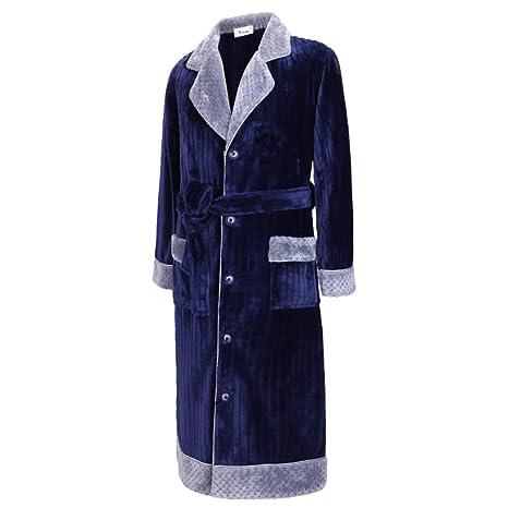 HGDR Azul Invierno Cálido Bata De Baño Bata Albornoz para Los Hombres Mantón Cuello Polar Suave