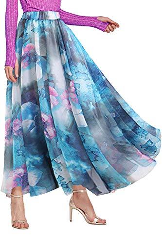 ChiffonMaxiSkirt forWomen - Long Floral Skirt Great for Travel, Beach, Cocktail or Party (XL, Chiffon Skirt Blue)