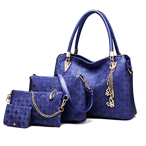 Women Shoulder 4 Suits Handles Elegant Bag Handles piece Pu And Luckywe Blue Bag With fxwC1Yddq