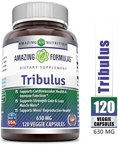 Amazing Formulas Organic Tribulus- 630 mg, 120 Vcaps (Non-GMO) -Raw, Vegan- Gluten-Free, Plant-Based Nutrition. Supports Men's Reproductive Health, Promote Lean Muscle Mass, Supports Heart, Immune