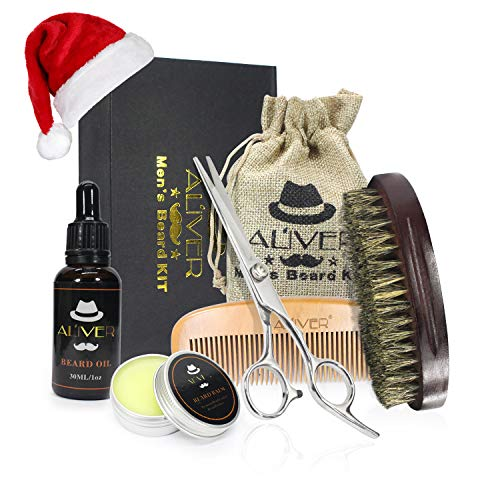 Beard Grooming Kit,Natural Beard Balm,Beard Oil,Wooden Beard Brush,Beard Comb – Mustach & Beard Trimming Scissors for Styling and Shaping – Mustache Care Gift Set – Best for Home & Travel (black)