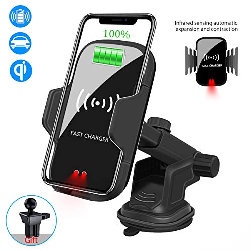 Wireless Car Charger Mount,Fast Charging 10W/7.5W Infrared Sensor Automatic Clamping Air Vent Holder for iPhone Xs/Xs Max/XR/X/8/8 Plus,Samsung S10/S10+/S9/S9+/S8/S8 + Other Devices with Qi Standard