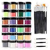 24 Color Glitter Powder Dust Nail Art glitter powder Tips decoration Jumbo Size