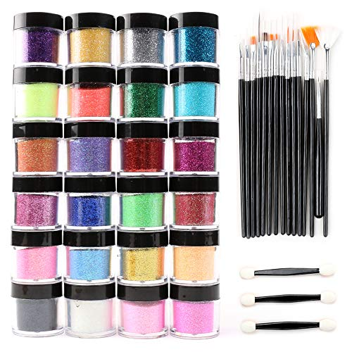 24 Color Glitter Powder Dust Nail Art glitter powder Tips decoration Jumbo - Powder Tip