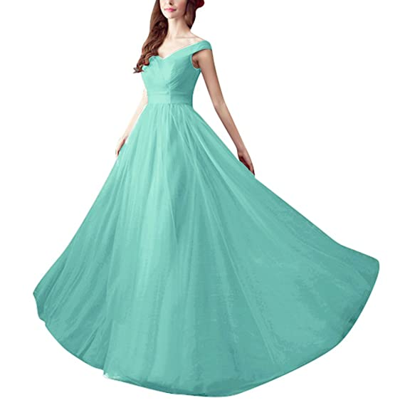 HWAN Womens Elegant A Line Long Pleated Bridesmaid Dresses Prom Gowns