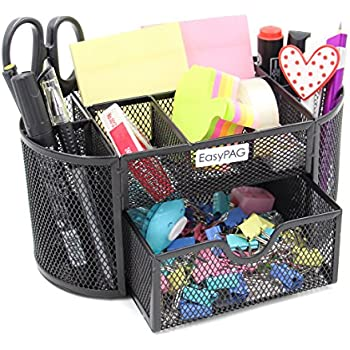EasyPAG Office Mesh Desk Organizer 9 Components Accessories Caddy with Drawer,Black