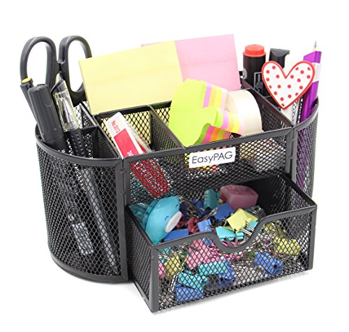 EasyPAG Mesh Desktop Organizer 9 Components Desk Accessories Caddy with - Desk Organizer