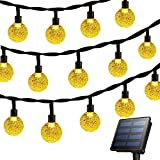 Rockjame Solar Globe String Lights 23FT 50 LED Crystal Bubble Ball Fairy Lights UL CE ROHS FCC Waterproof with 8 Modes for Outdoor Indoor Garden Patio Backyard Weddings Xmas Holiday Party Decor, Warm