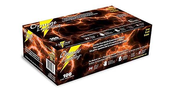 Box of 100 Orange Lightning XX-LARGE Non-Tearing Powder Free Nitrile Gloves
