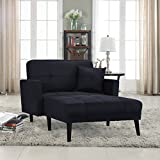 "Casa Andrea Upholstered Linen Fabric Recliner Futon Sectional Sofa, 60"" W inches (Black)"