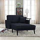 Modern Linen Fabric Recliner Sleeper Chaise Lounge - Futon Sleeper Single Seater (Black)