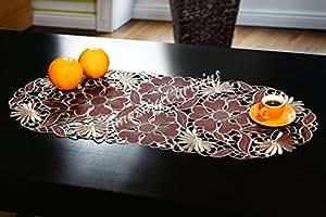 """Bordado Manteles de mesa 40x 90cm (16""""x 35,5cm), color marrón, blanco y verde Morado burdeos/marfil diseño floral/Home Kitchen mesa de comedor decoración, poliéster, marrón, 16"""" x 35,5"""" - 40cm x 90cm"""