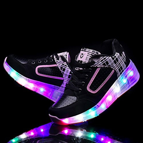 SIKAINI LED Zapatillas Deporte Patín ruedas Luminoso Formadores Niños LED con Un Adulto Rueda Intermitente Zapatos Rosado